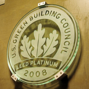 LEED plaque for Proximity Hotel