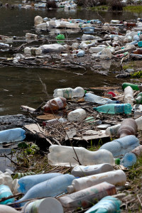 plastic pollution on a river bank