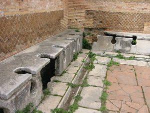Ancient Roman latrine. solid waste management