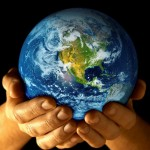 Earth in hands, ways to go green
