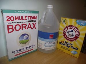 Borax, vinegar, washing soda