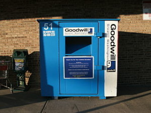 Goodwill clothing dropoff bin. Recycle old clothing