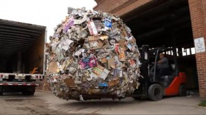 world's largest paper wad, belatedly recycled