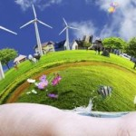 Renewable energy in palm of hand. benefit corporation