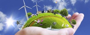 Renewable energy in palm of hand. renewable energy certificates RECs