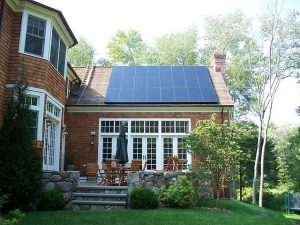 home solar panels on rooftop