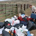 Cleaning an illegal dumping near Vale, Oregon