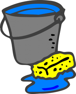 bucket and sponge--using washing soda