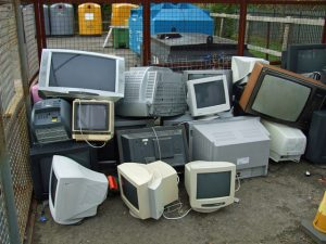 computer e-waste recycling. high tech trash