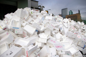 Styrofoam recycling, mountain of eps waste