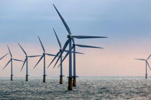 North Sea wind farm. Big oil wind industry