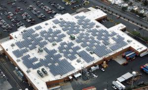Solar panels on Walmart roof. renewable energy in Puerto Rico